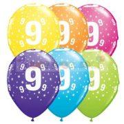 9-es számmal printelt Születésnapi számos léggömb - 28 cm - 1darab