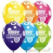 28 cm-es Birthday Dots and Glitz Tropical Asst. Születésnapi Léggömb- 1darab