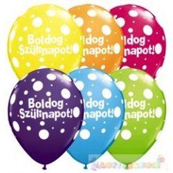 40 cm-es Birthday Big Polka Dots Pöttyös Születésnapi Léggömb - 1darab