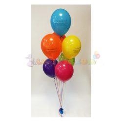Héliumos léggömb csokor súlyra kötve - 7 db-os