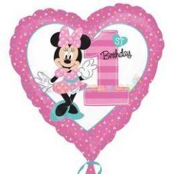 Minnie Mouse Szív Alakú Első Szülinapi Fólia Lufi