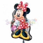 Minnie Mouse pöttyös ruhában fólia léggömb - 81 cm
