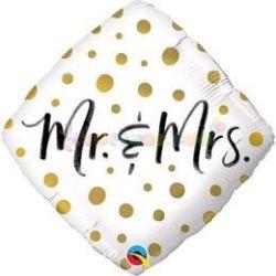Mr. And Mrs. Gold Dots Esküvői Diamond Fólia Lufi