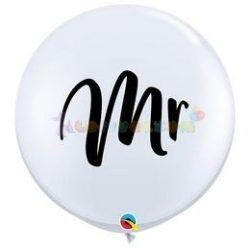 Mr. Fehér Esküvői Kerek Latex Lufi