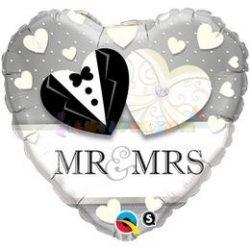 Mr. & Mrs. Wedding Esküvői Szív Fólia Lufi