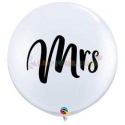 Mrs. Fehér Esküvői Kerek Latex Lufi