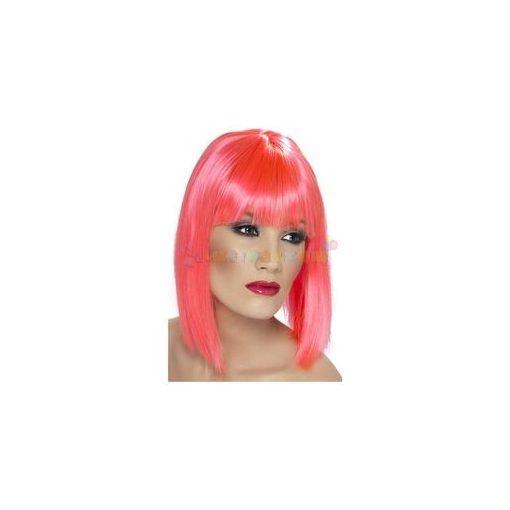 Neon Pink Egyenes Vállig Érő Paróka