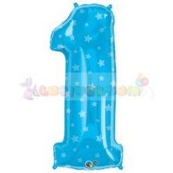 86 cm-es kék csillag mintás fólia léggömb 1