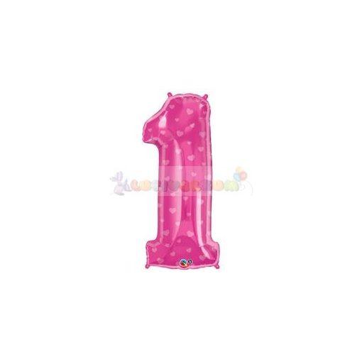 86 cm-es rózsaszín szív mintás magenta fólia léggömb