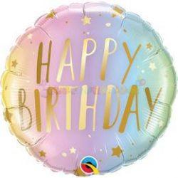 Happy Birthday Pastel Ombre & Stars Szülinapi Fólia Lufi