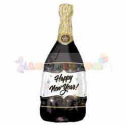 Happy New Year Fekete Pezsgősüveg Super Shape Fólia Léggömb Szilveszterre