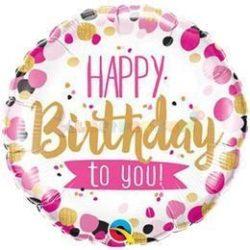 Happy Birthday to You Pink & Arany Szülinapi Fólia Lufi 45 cm