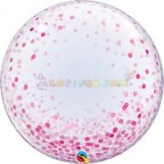 Pink Konfetti Pöttyös Mintás Deco Bubble Lufi 61 cm