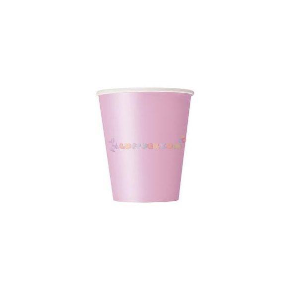 Pink Papír Parti Pohár - 270 ml, 8 db-os