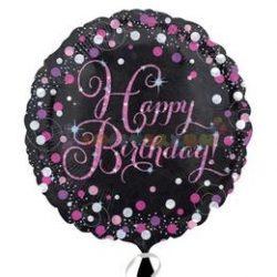 Happy Birthday Pink Celebration Prismatic Szülinapi Fólia Lufi