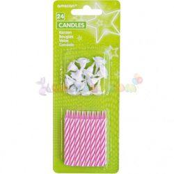 Rózsaszín fehér szülinapi tortagyertya 24 db-os