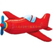Piros Retro Repülőgép Fólia Lufi