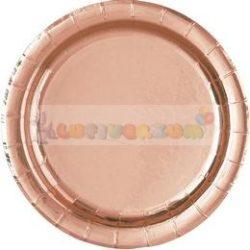 Rózsaarany - Rose Gold Parti Tányér - 22 cm, 8 db-os