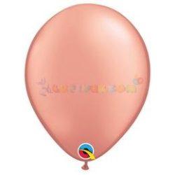 Rózsaarany színű 28 cm-es latex Qualatex party lufi