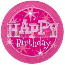 Happy Birthday Rózsaszín Sparkle Szülinapi Parti Tányér - 23 cm, 8 db-os