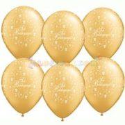28 cm-es latex Qualatex Sok Boldogságot Arany Esküvői Léggömb
