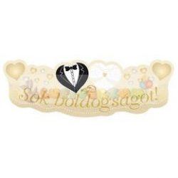 Sok Boldogságot Menyasszony-Vőlegény Arany Esküvői Banner - 90 cm x 30 cm