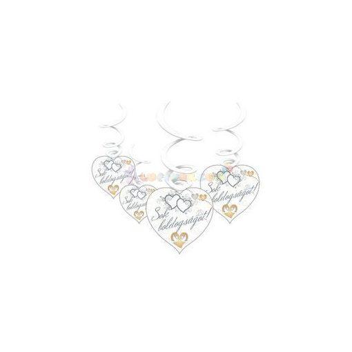 Sok Boldogságot Szívek és Galambok Ezüst Esküvői Spirális Függő Dekoráció - 6 db-os
