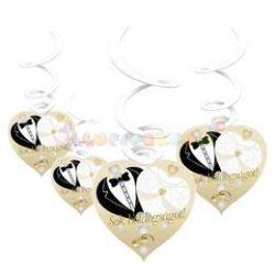 Sok Boldogságot Menyasszony-Vőlegény Arany Esküvői Spirális Függő Dekoráció - 6 db-os