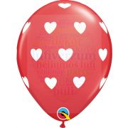 28 cm-es fehér szív mintás piros latex lufi 1 darab