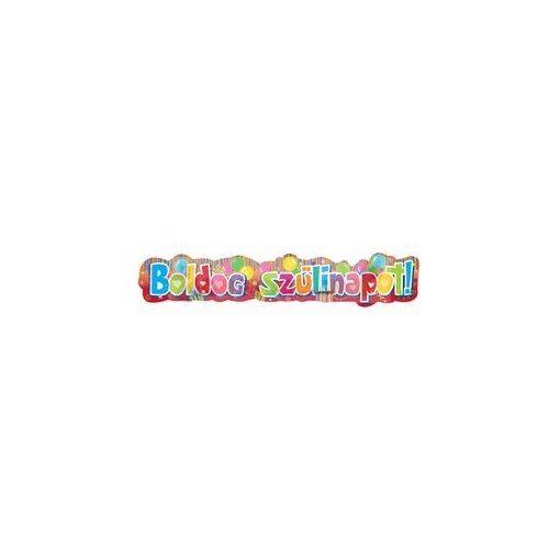Színes boldog szülinapot feliratú mintás banner - 148 cm-es