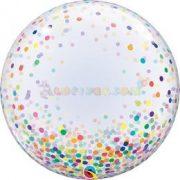 Színes Konfetti Pöttyös Mintás Deco Bubble Lufi 61 cm