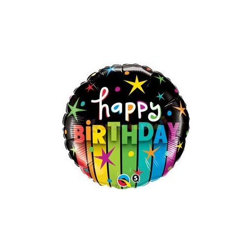 Birthday Colorful Stripes Szülinapi Fólia Lufi