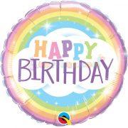 Szivárványos születésnapi fólia lufi