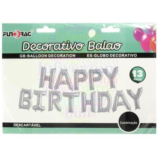Happy Birthday - Születésnapi fólia lufi betű füzér ezüst