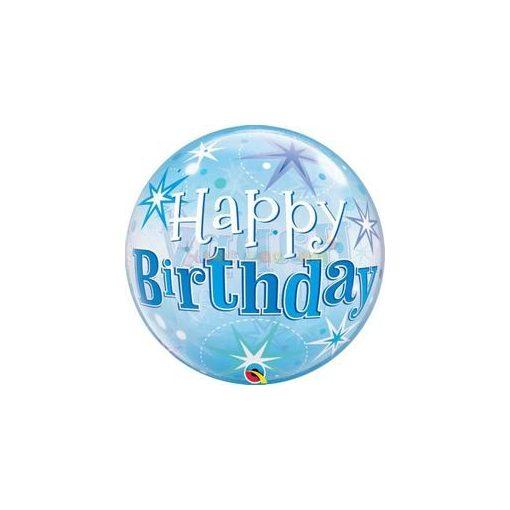 Birthday Blue Starburst Sparkle Szülinapi Bubbles Lufi