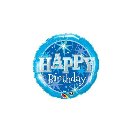 Kék Csillogó Születésnapi Fólia Lufi