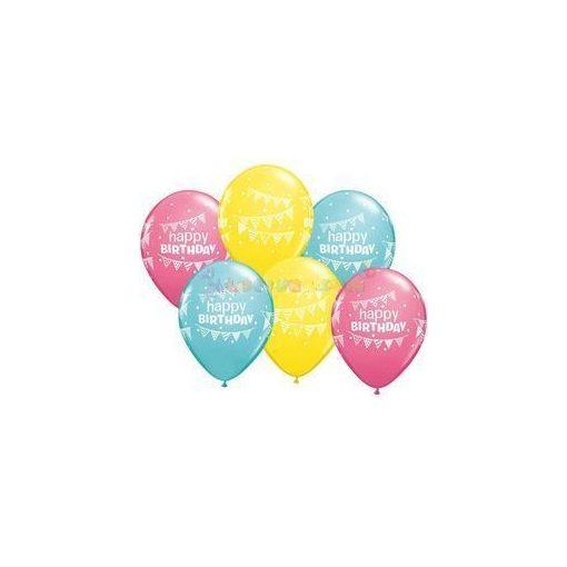 28 cm-es Birthday Pennants and Dots Szülinapi Lufi  darabra