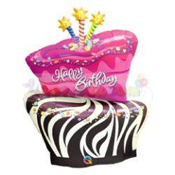 Születésnapi zebra torta fólia lufi 16081
