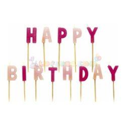Happy Birthday Feliratú Rózsaszín Gyertya - 13 db-os
