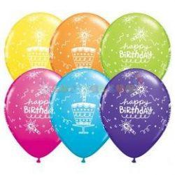 Birthday Cake és Candle Tropical Assortment Szülinapi Lufi - 1darab