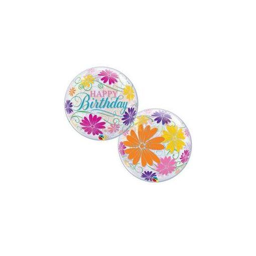 Szülinapi Virág Mintás Bubble Lufi