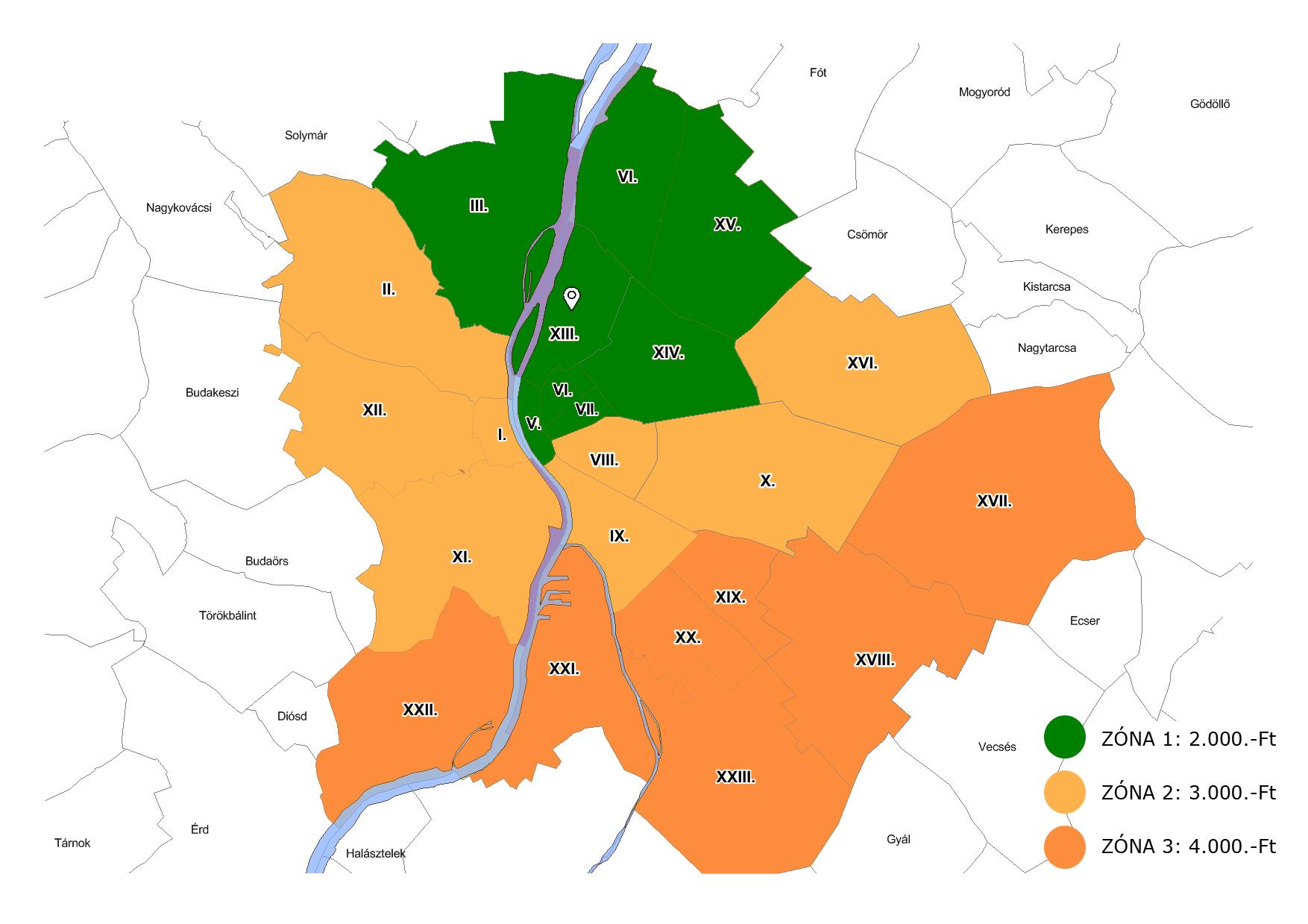 kiszállítás budapest zónák